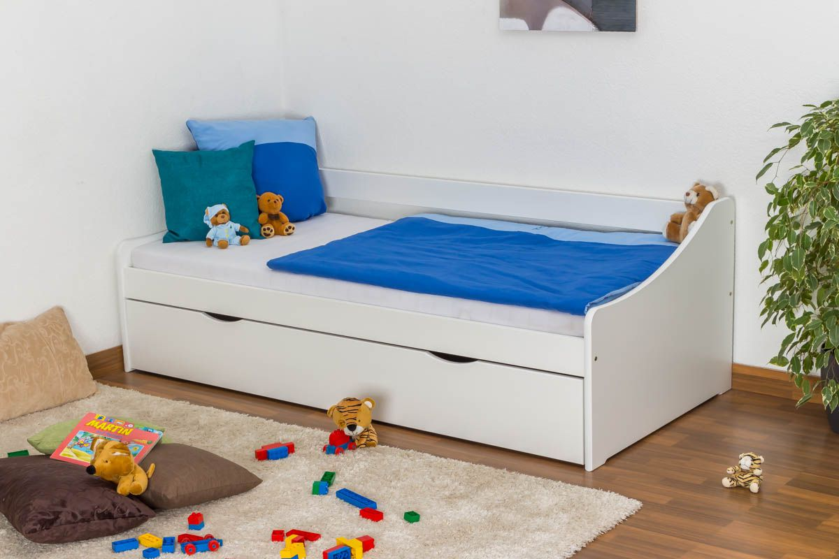 Jugendbett / Funktionsbett Kiefer massiv Vollholz weiß lackiert 93, inkl. Lattenrost - Abmessung 90 x 200 cm