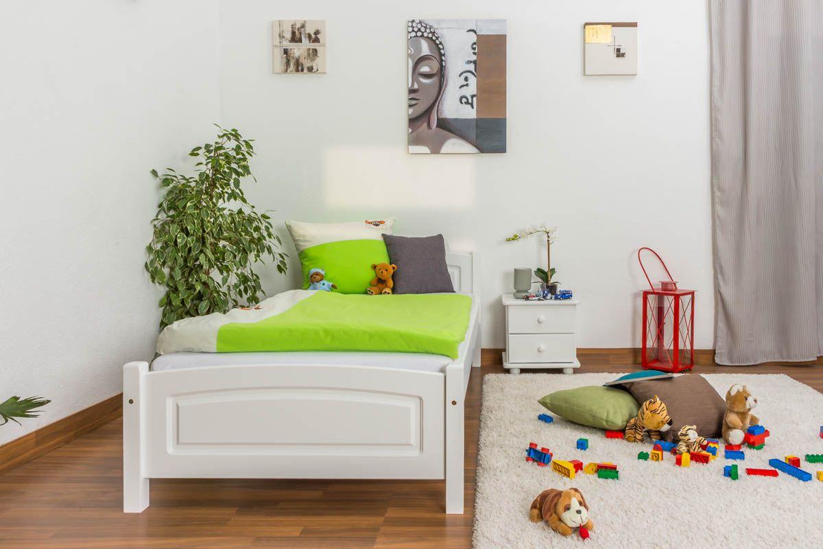 Kinderbett / Jugendbett Kiefer massiv Vollholz weiß lackiert 80, inkl. Lattenrost - Abmessung 90 x 200 cm