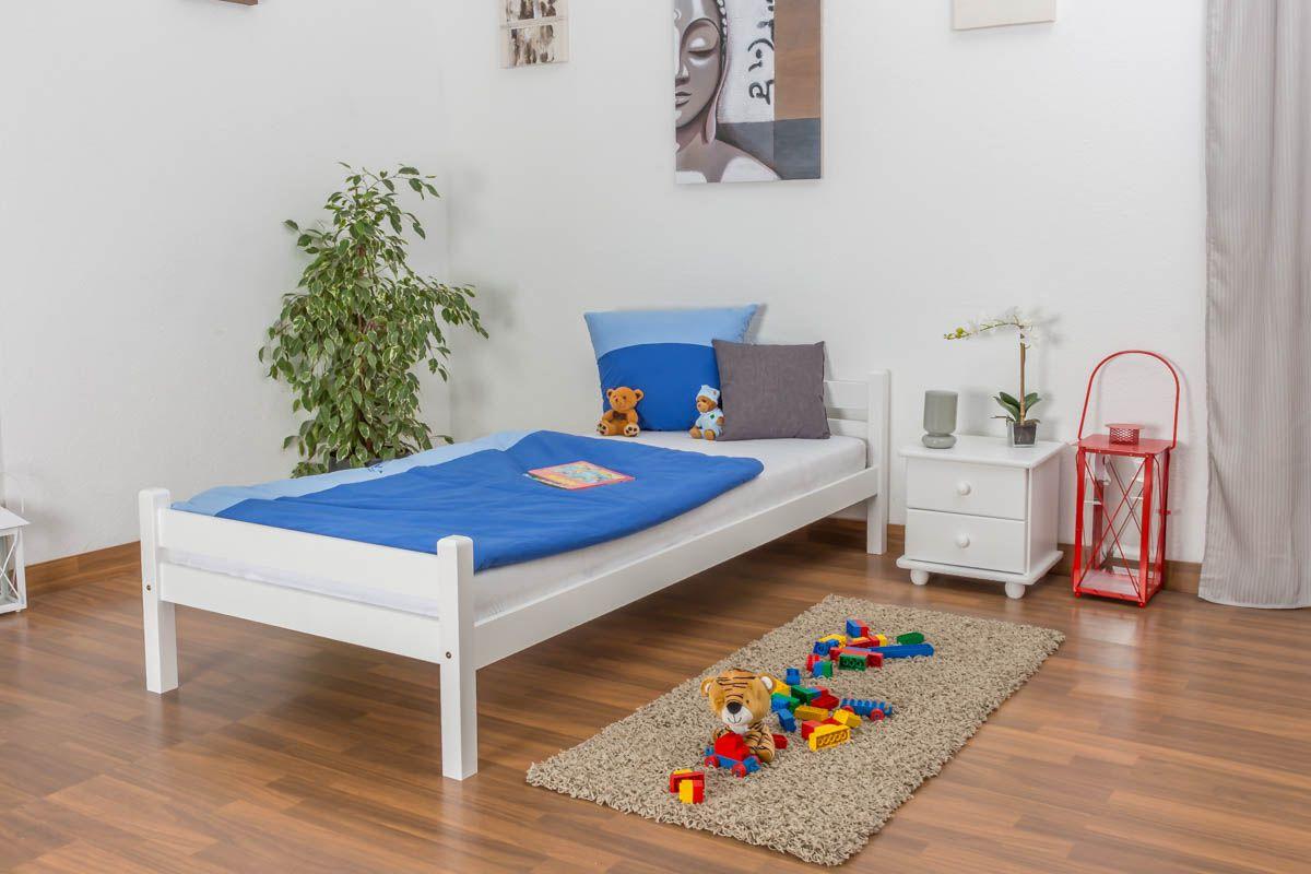 Kinderbett / Jugendbett Kiefer massiv Vollholz weiß lackiert 97, inkl. Lattenrost - Abmessung 90 x 200 cm