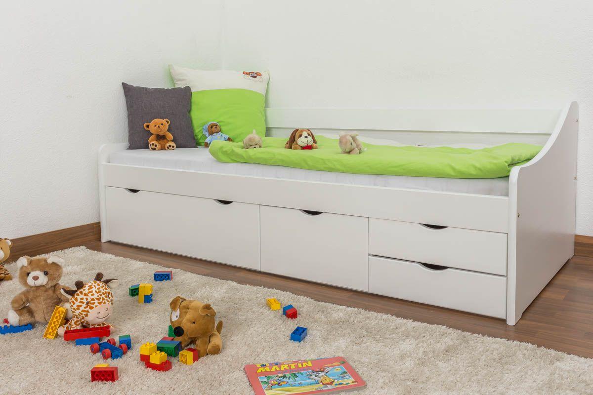 Einzelbett / Funktionsbett Kiefer massiv Vollholz weiß lackiert 94, inkl. Lattenrost - Abmessung 90 x 200 cm
