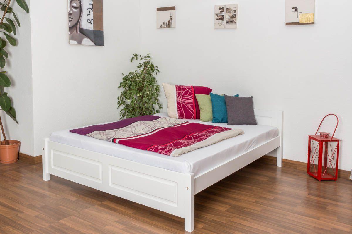 Jugendbett Kiefer massiv Vollholz weiß lackiert 77, inkl. Lattenrost - Abmessung 160 x 200 cm