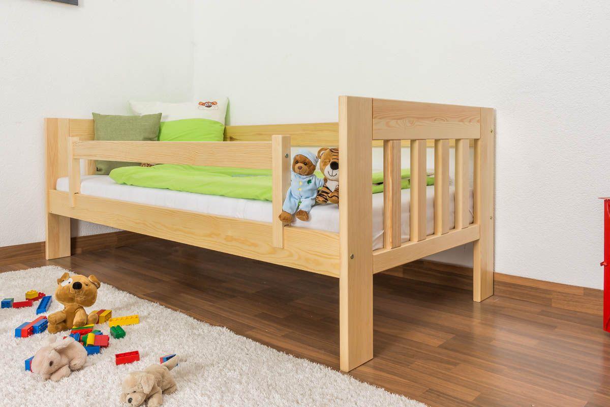 Kinderbett / Juniorbett Kiefer massiv Vollholz natur 95, inkl. Lattenrost - 90 x 200 cm (B x L)