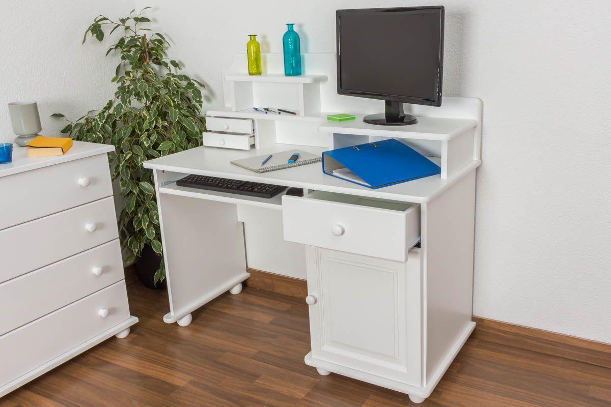 Schreibtisch Kiefer massiv Vollholz weiß lackiertJunco 188 - Abmessung 106 x 120 x 57 cm