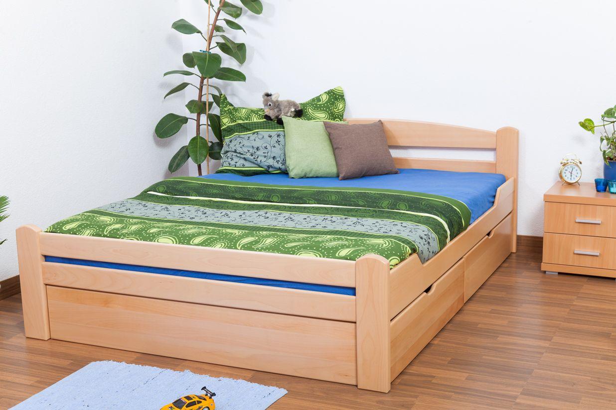 """Doppelbett / Funktionsbett """"Easy Premium Line"""" K4 inkl. 2 Schubladen und 1 Abdeckblende, 160 x 200 cm Buche Vollholz massiv Natur"""
