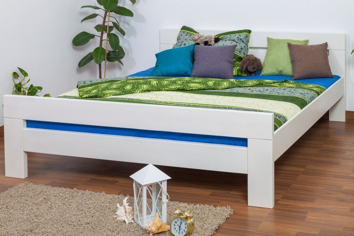 """Doppelbett """"Easy Premium Line"""" K6, 180 x 200 cm Buche Vollholz massiv weiß lackiert"""