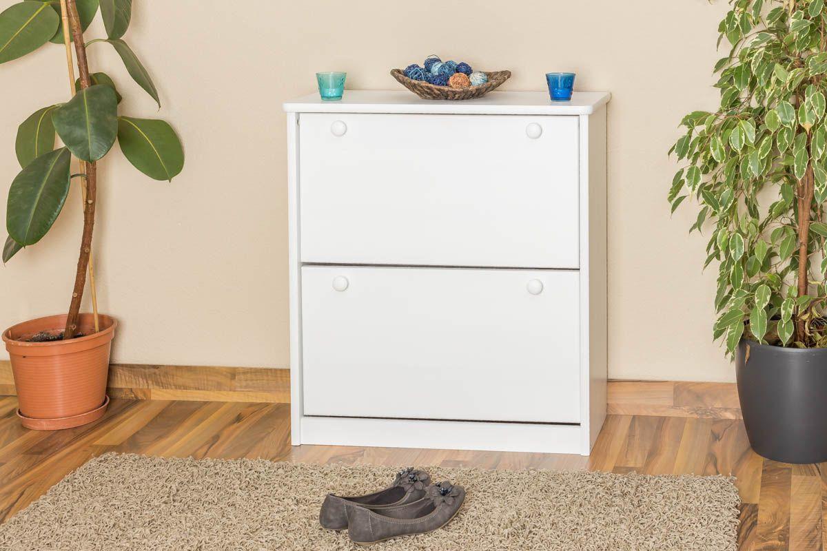 Schuhschrank Kiefer Vollholz massiv weiß lackiert  Junco 214 - Abmessung 80 x 72 x 30 cm