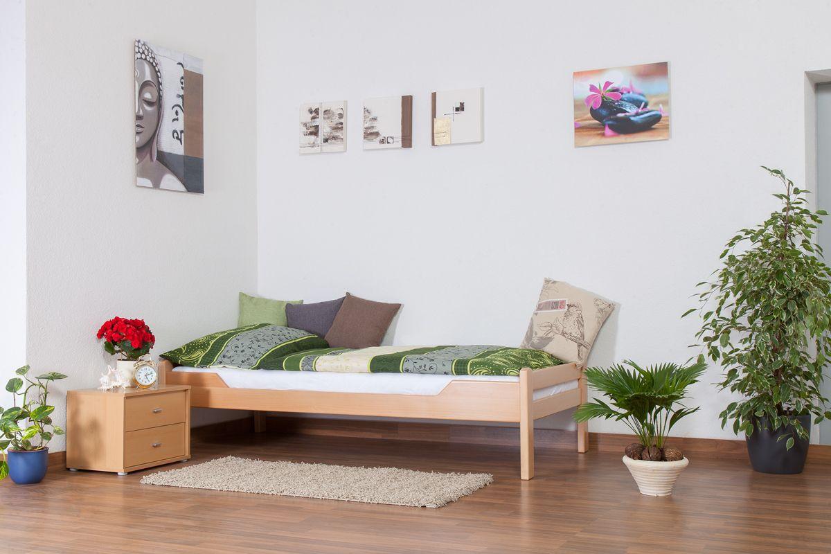 """Einzelbett """"Easy Premium Line"""" K1/1n, Buche Vollholz massiv Natur - Maße: 90 x 190 cm"""