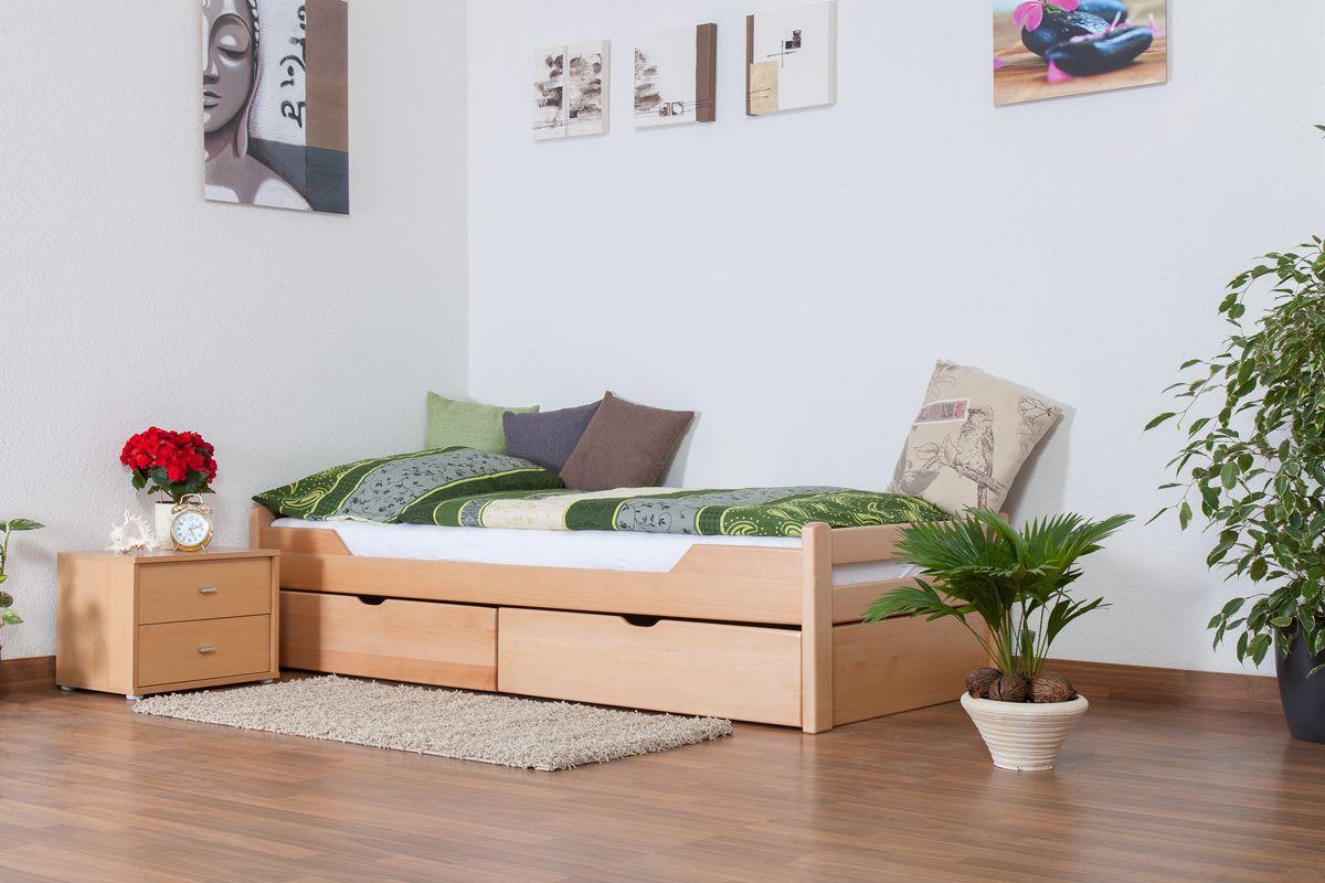 """Einzelbett / Funktionsbett """"Easy Premium Line"""" K1/1n inkl 2 Schubladen und 2 Abdeckblenden, 90 x 200 cm Buche Vollholz massiv Natur"""