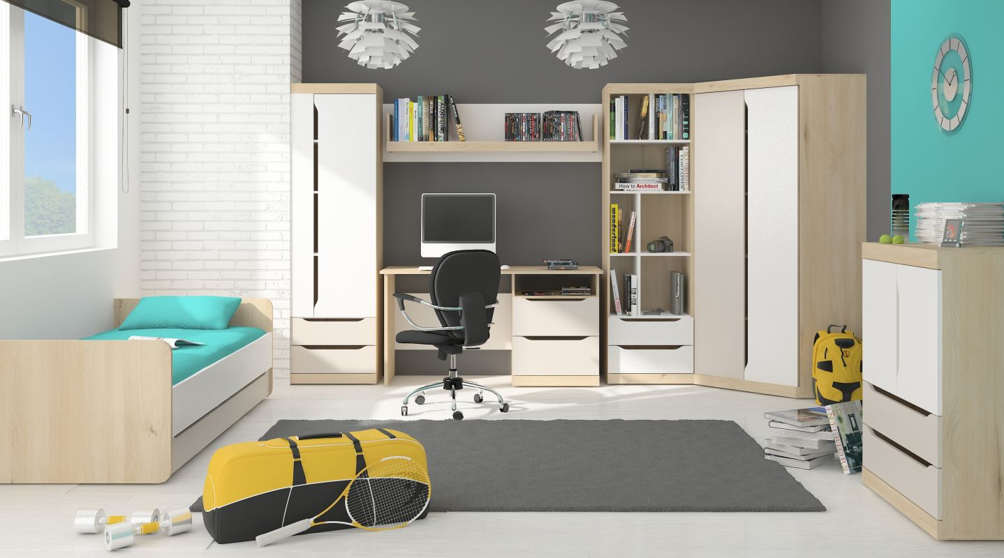 Jugendzimmer Komplett - Set A Fushana, 7-teilig, Farbe: Buche / Weiß / Champagne