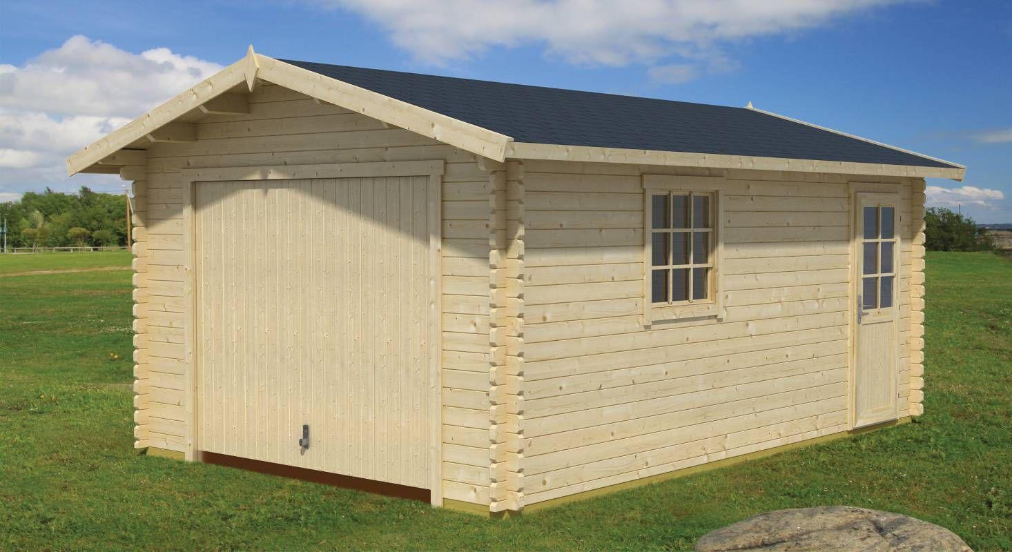 Holzgarage H89 - 44 mm Blockbohlenhaus, Grundfläche: 19,40 m², Satteldach