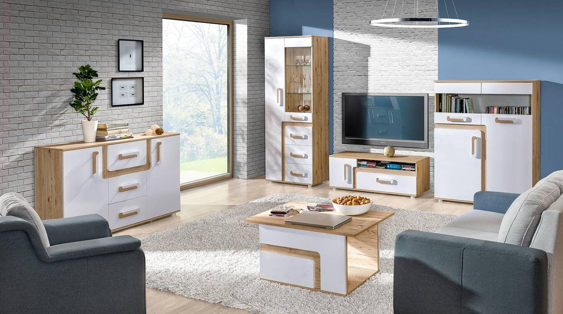 Wohnzimmer Komplett Set E Oskar 5 Teilig Farbe Eiche