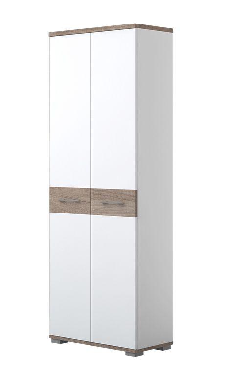 Schrank Sagone 01, Farbe: Eiche Dunkelbraun / Weiß - Abmessungen: 189 x 68 x 35 cm (H x B x T)