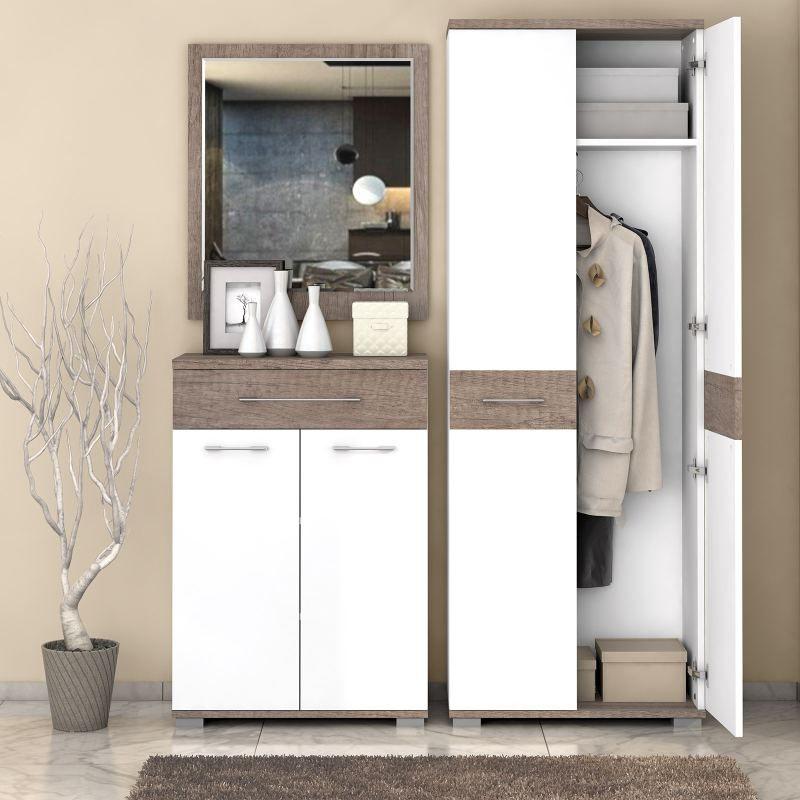 Garderobe Komplett - Set B Sagone, 3-teilig, Farbe: Eiche Dunkelbraun / Weiß