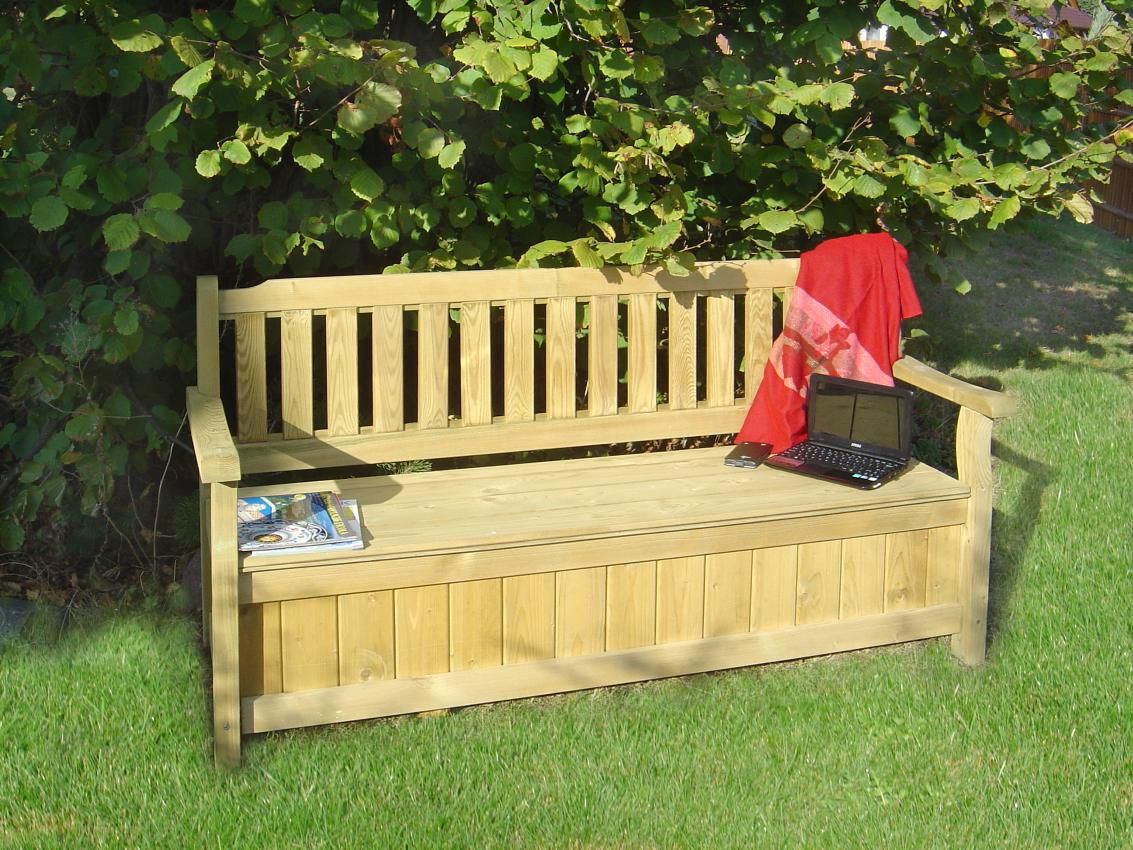 Sitzbank mit Stauraum - Abmessung: 164 x 60 x 89 cm (B x T x H)