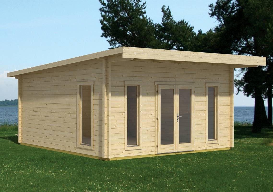 Gartenhaus G18 inkl. Fußboden - 44 mm Blockbohlenhaus, Grundfläche: 17,50 m², Pultdach