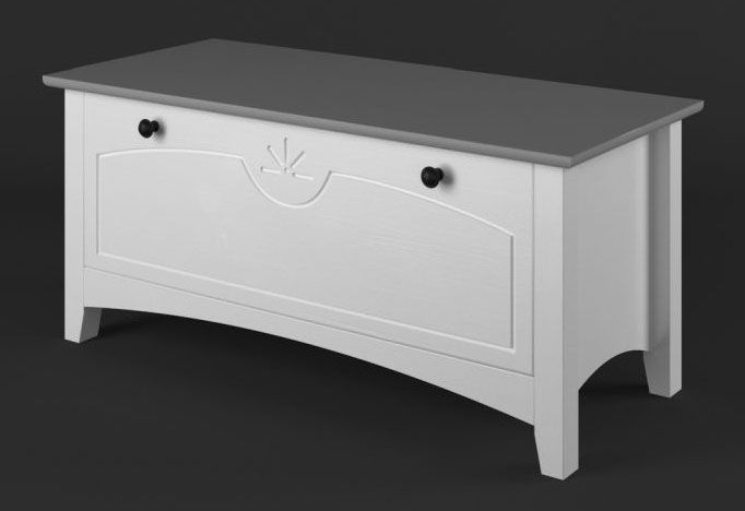 Truhe Kiefer Vollholz massiv weiß / grau Lagopus 36 - Abmessungen: 45 x 100 x 45 cm (H x B x T)