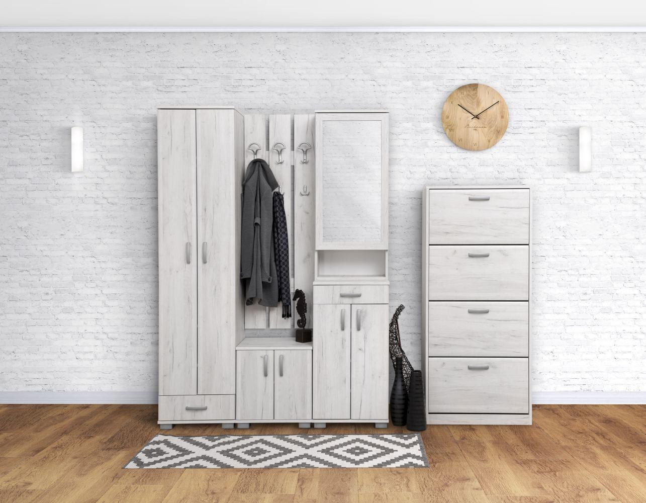 Garderobe Komplett - Set A Camprodon, 5-teilig, Farbe: Eiche Weiß