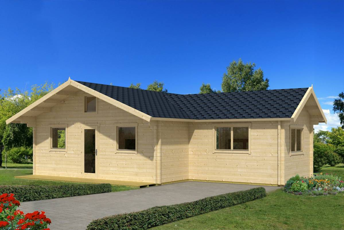 Ferienhaus F3 inkl. Fußboden - 70 mm Blockbohlenhaus, Grundfläche: 49,00 m², Satteldach