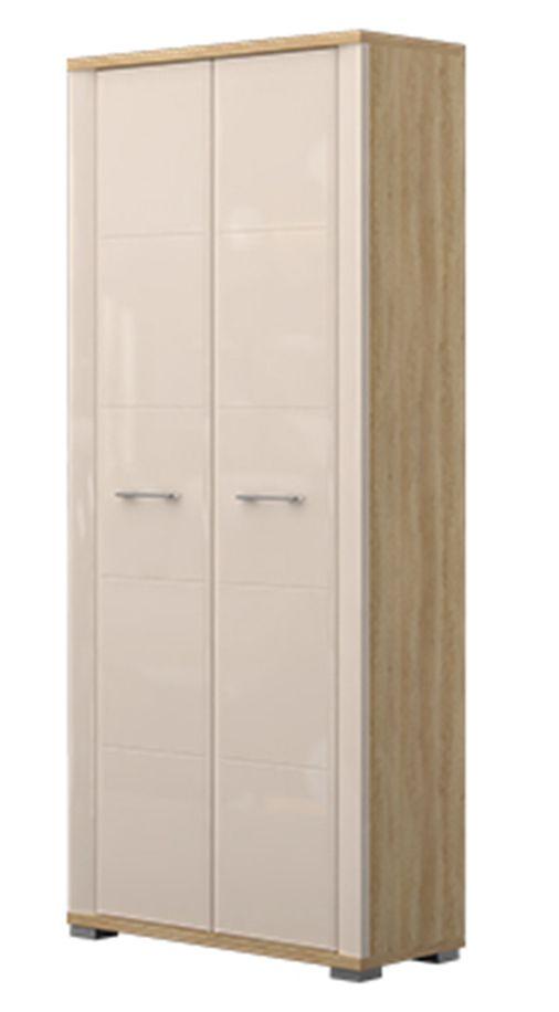 Schrank Sili 01, Farbe: Eiche Braun / Creme Hochglanz - Abmessungen: 192 x 80 x 36 cm (H x B x T)
