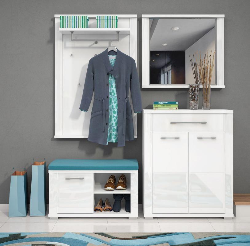 Garderobe Komplett - Set C Sili, 4-teilig, Farbe: Weiß