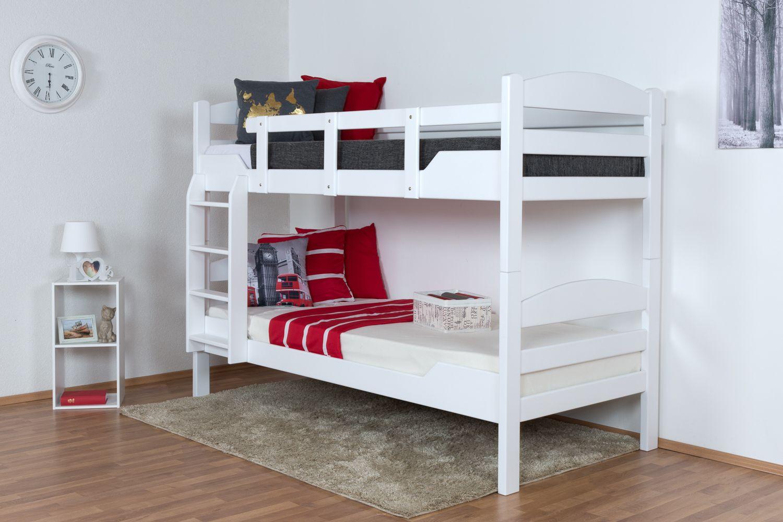 """Stockbett für Erwachsene """"Easy Premium Line"""" K10/n, Kopfteil mit Löchern, Buche Vollholz massiv Weiß - 90 x 200 cm, (L x B)  teilbar"""
