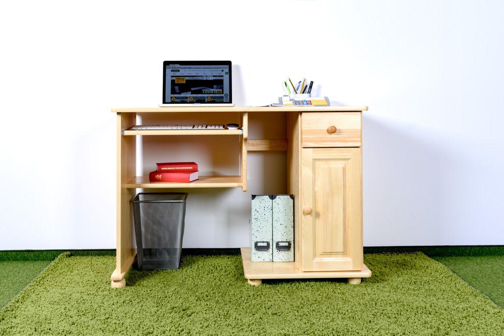 Schreibtisch Kiefer massiv Vollholz natur Junco 196 - Abmessungen: 81,50 x 115 x 55 cm (H x B x T)