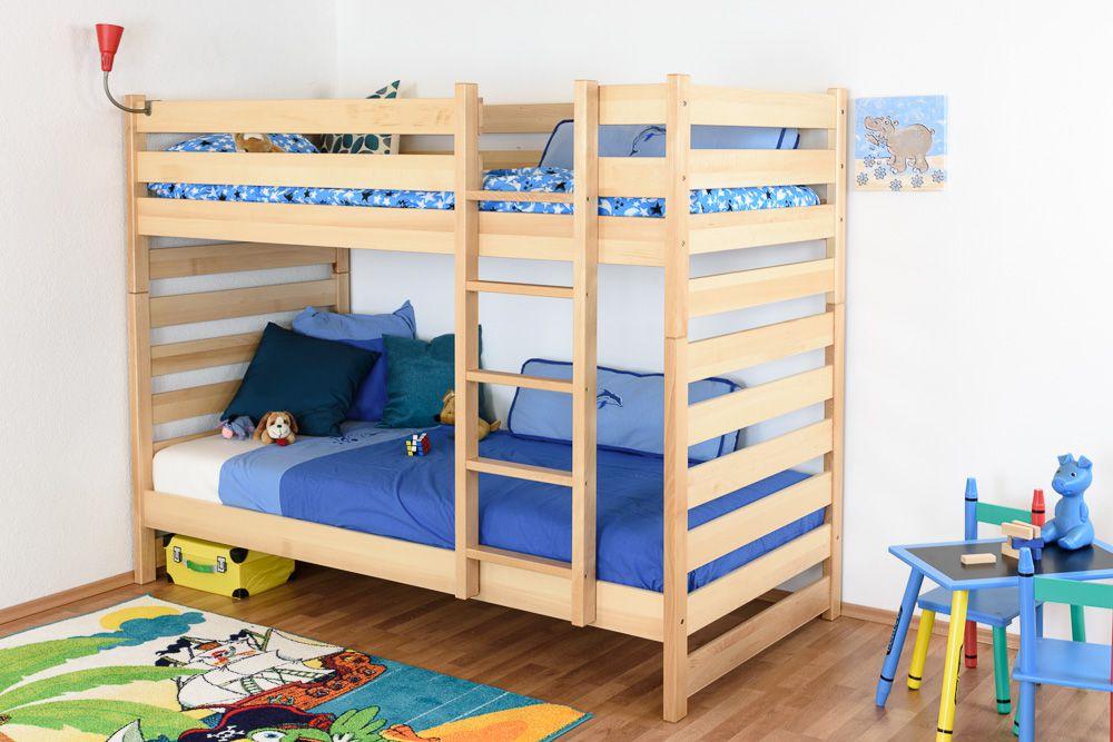 Kinderbett / Etagenbett Buche massiv Vollholz natur 119 – Liegeflächen: 90 x 200 cm (B x L)