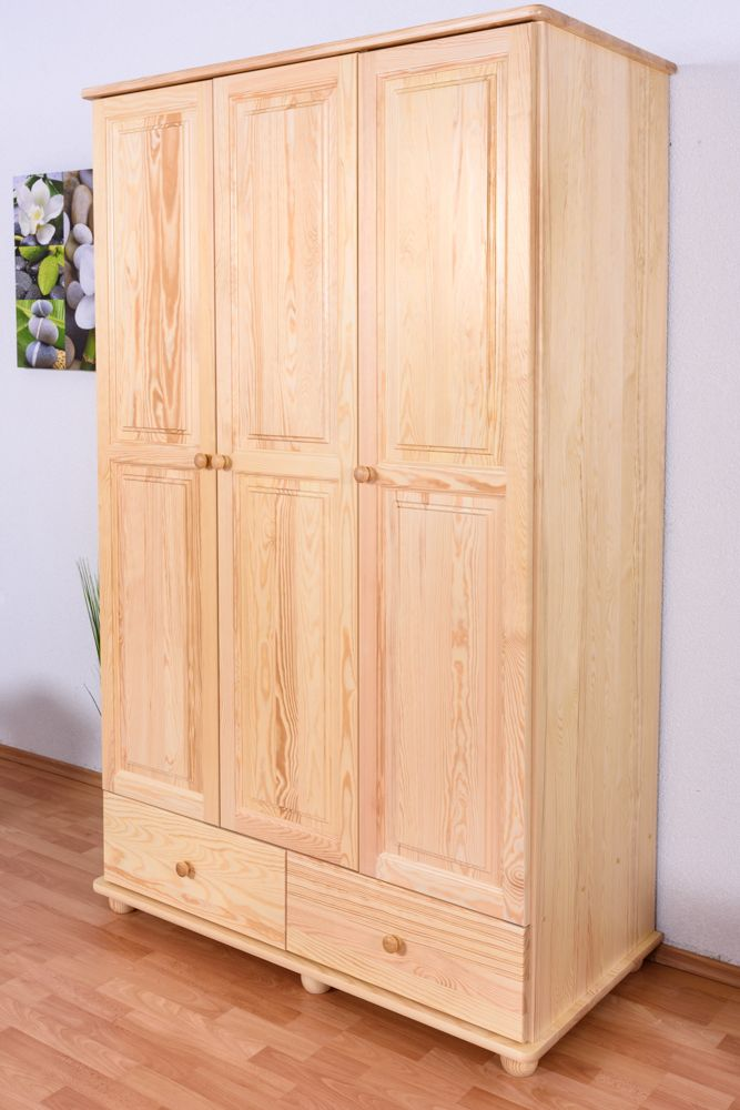 Kleiderschrank Kiefer Vollholz massiv natur Junco 07 - Abmessungen: 195 x 123 x 59 cm (H x B x T)