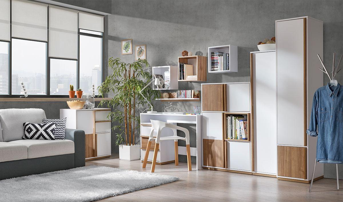 Wohnzimmer Komplett Set H Lefua 9 Teilig Farbe Weiss Nussfarben