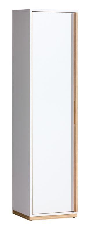 Drehtürenschrank / Kleiderschrank Lefua 12, Farbe: Weiß / Nussfarben - Abmessungen: 163 x 41 x 39 cm (H x B x T)