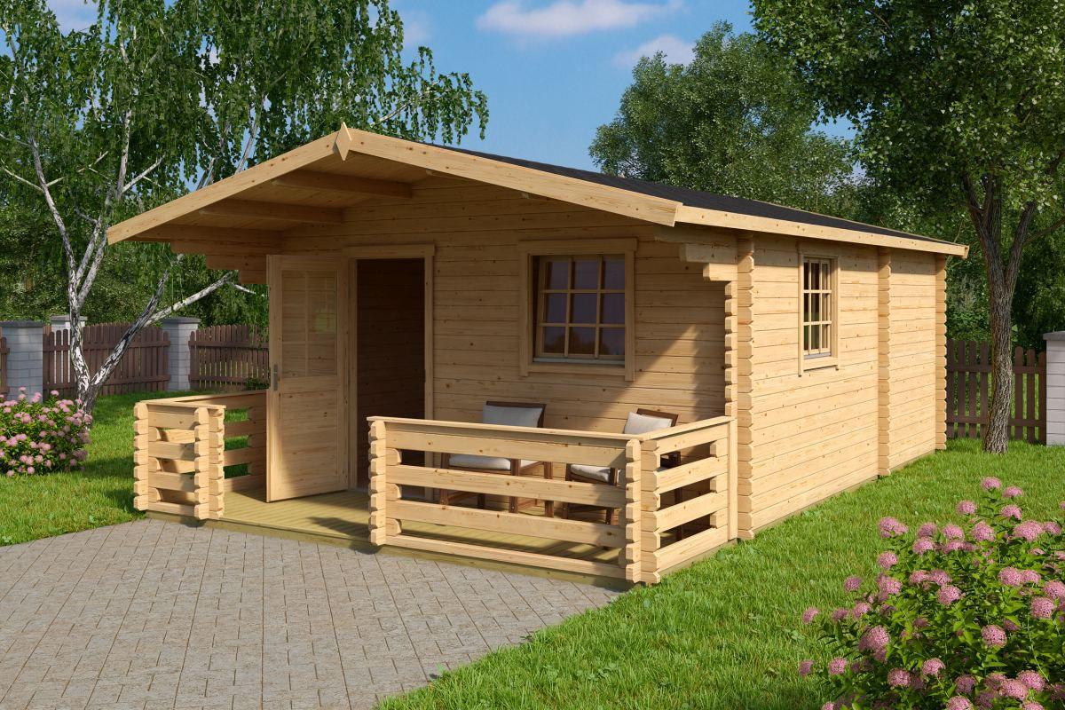 Gartenhaus G85 inkl. Fußboden - 70 mm Blockbohlenhaus, Grundfläche: 22,60 m², Satteldach