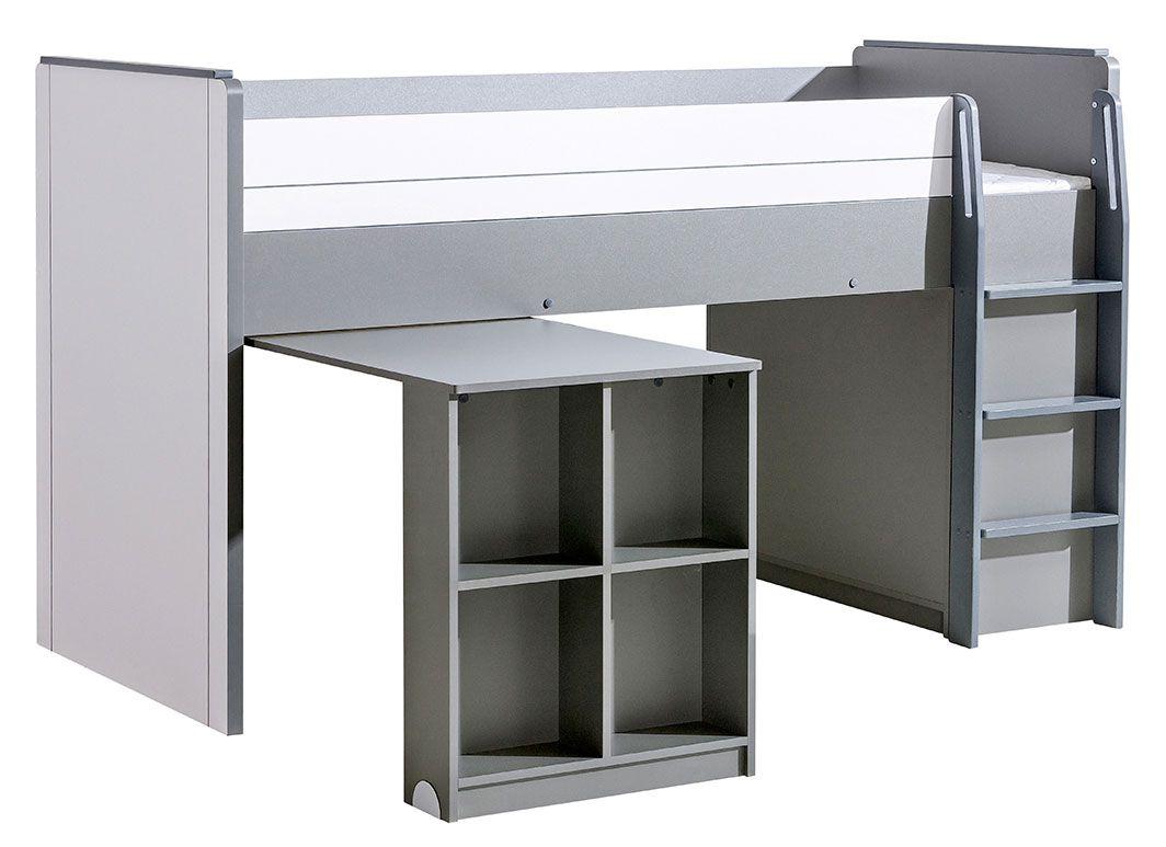 Funktionsbett / Kinderbett / Hochbett - Kombination mit Bettkasten und Schreibtisch Elias 15, Farbe: Weiß / Grau - Liegefläche: 90 x 200 cm (B x L)
