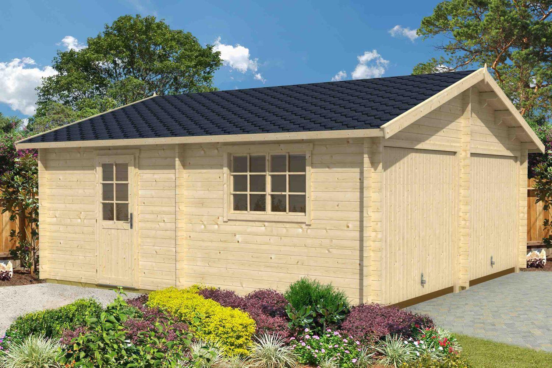 Holzgarage H164 inkl. Schwingtor - 44 mm Blockbohlenhaus, Grundfläche: 33,00 m², Satteldach