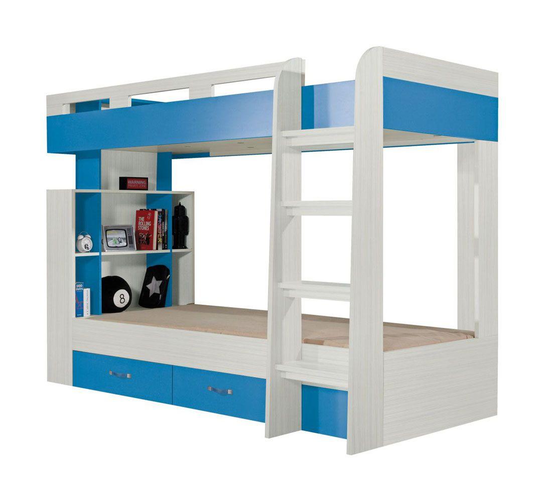"Funktionsbett / Kinderbett  ""Felipe"" 19, Blau / Weiß - Liegefläche: 90 x 200 cm"