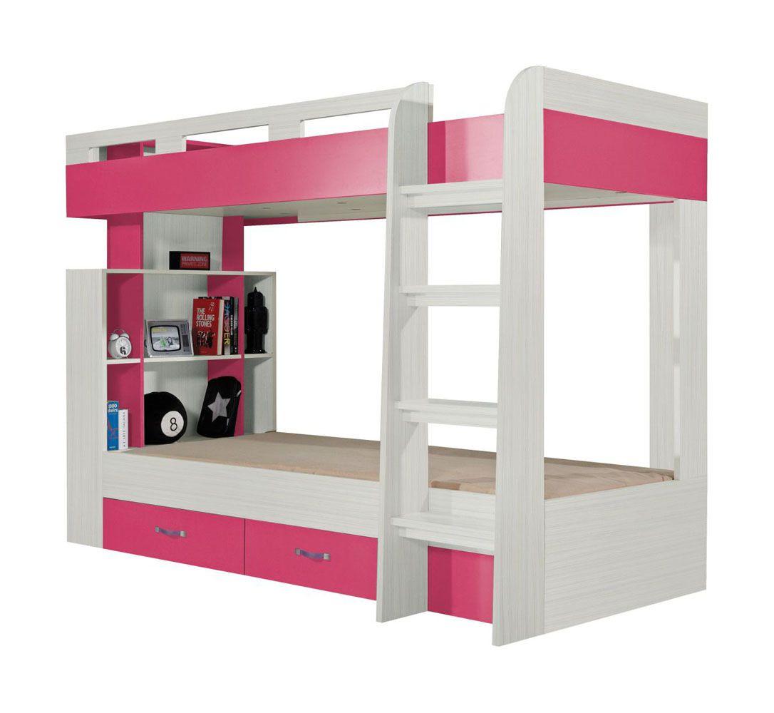 """Funktionsbett / Kinderbett  """"Felipe"""" 19, Rosa / Weiß - Liegefläche: 90 x 200 cm"""