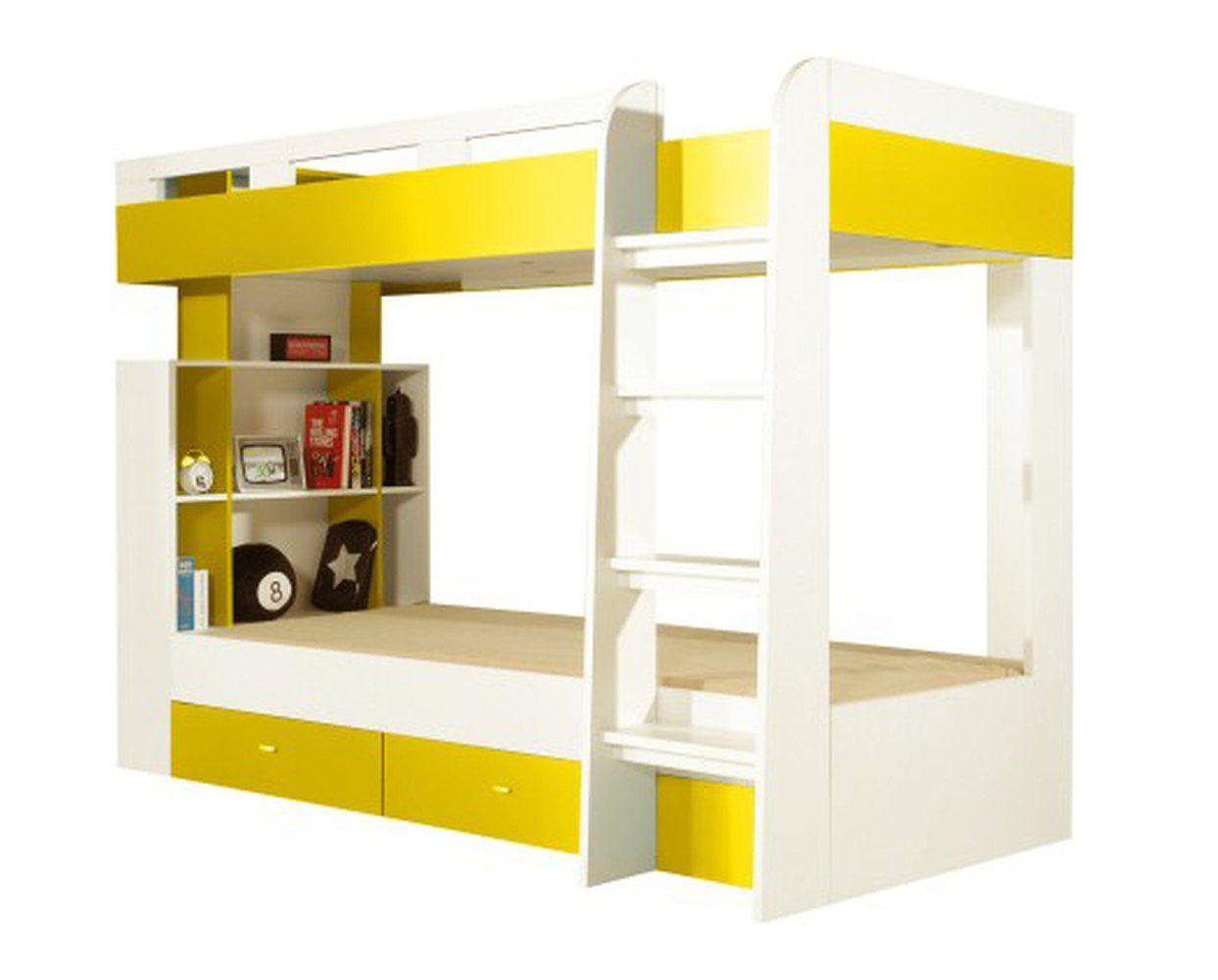 """Funktionsbett / Kinderbett """"Geel"""" 40  Weiß / Gelb - Liegefläche: 90 x 200  (B x L)"""