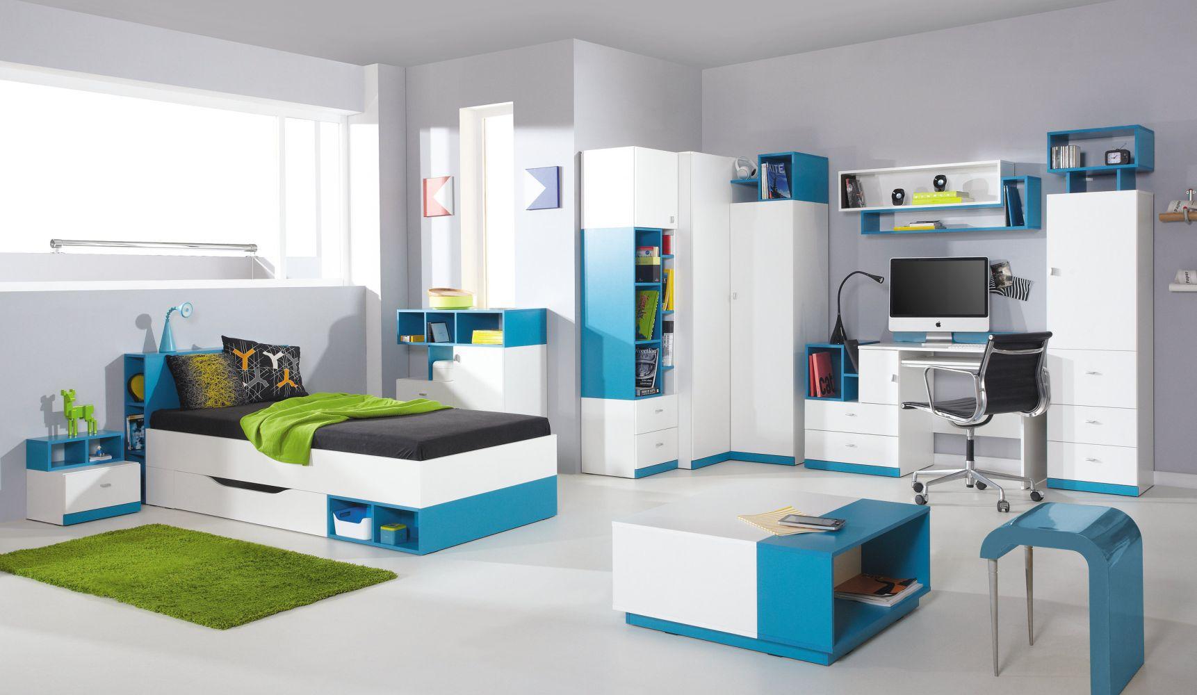 """Jugendzimmer Komplett - Set B """"Geel"""", 9-teilig, Weiß / Türkis"""