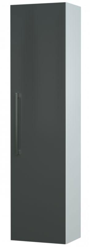 Bad - Hochschrank Bijapur 26, Farbe: Grau glänzend – 138 x 35 x 25 cm (H x B x T)