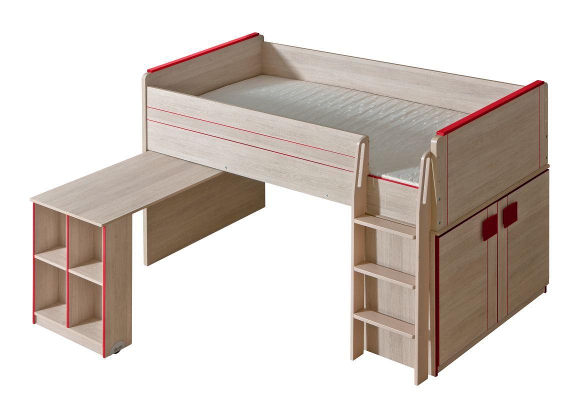 Funktionsbett / Kinderbett / Hochbett - Kombination mit Bettkasten und Schreibtisch Elias 15, Farbe: Hellbraun / Rot - Liegefläche: 90 x 200 cm (B x L)