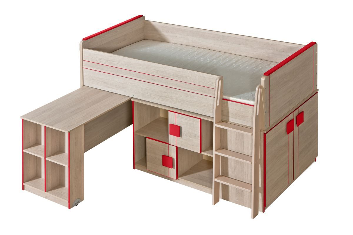 Funktionsbett / Kinderbett / Hochbett - Kombination mit Bettkasten, Kommode und Schreibtisch Elias 19, Farbe: Hellbraun / Rot - Liegefläche: 90 x 200 cm (B x L)
