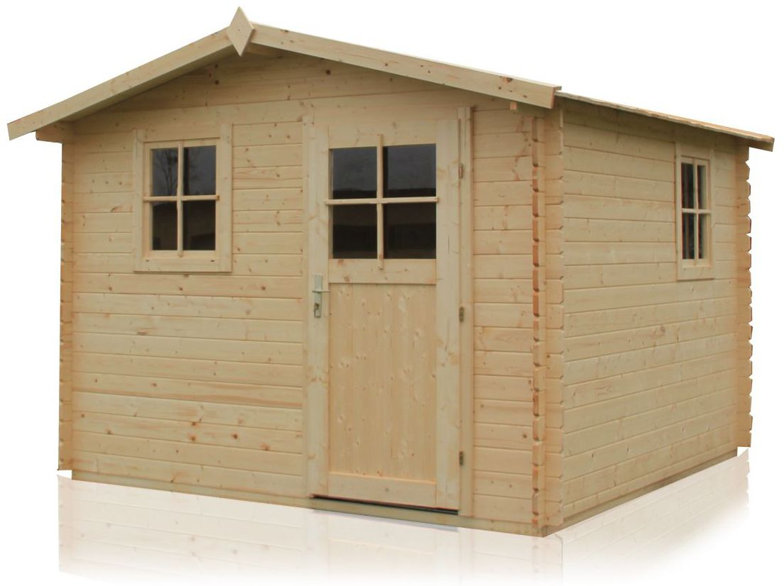 Gartenhaus Robusto -  3,40 x 3,40 Meter aus 28 mm Blockbohlen