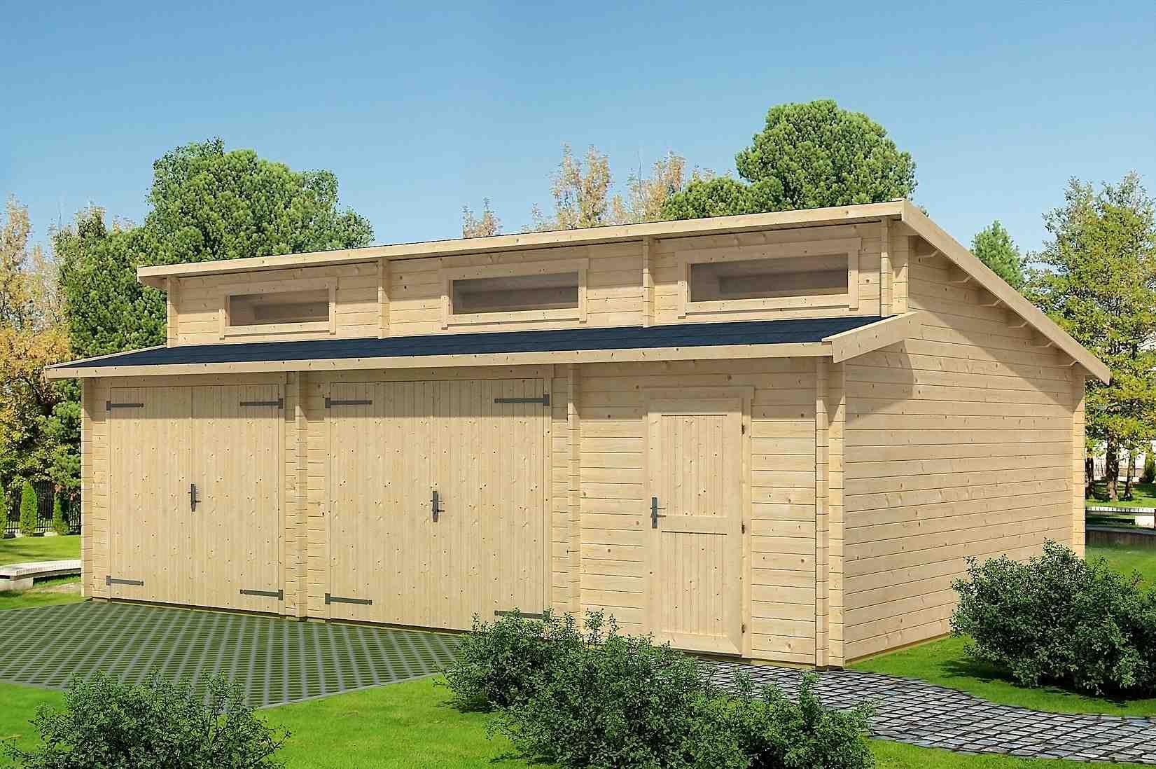 Holzgarage H158 inkl. Schwingtor - 44 mm Blockbohlenhaus, Grundfläche: 40,50 m², Stufendach
