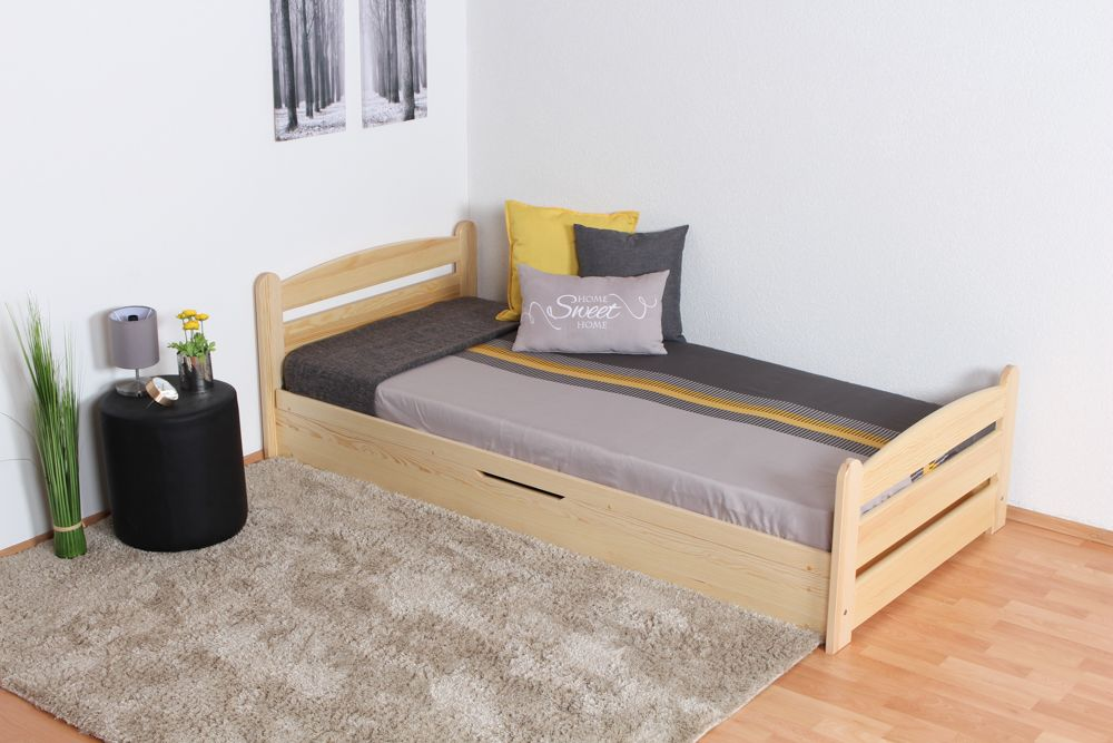 Einzelbett / Funktionsbett Kiefer massiv Vollholz natur 92, inkl. Lattenrost - 90 x 200 cm (B x T)