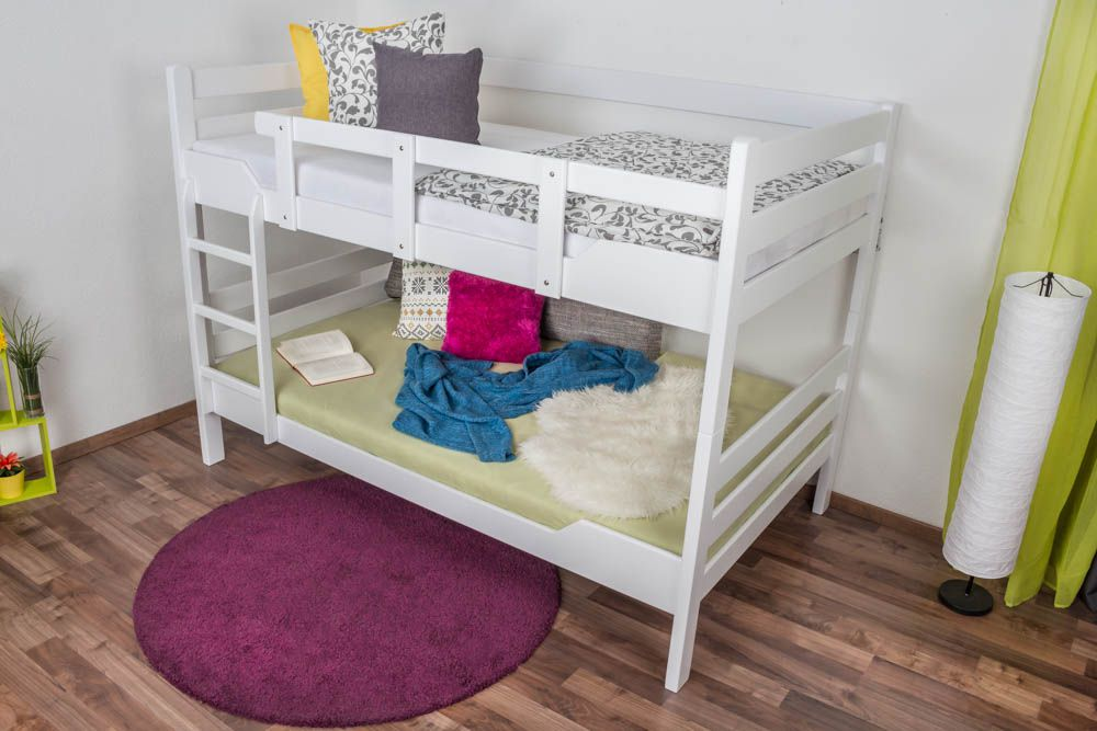 """Etagenbett für Erwachsene """"Easy Premium Line"""" K16/n, Kopf- und Fußteil gerade, Buche Vollholz massiv weiß lackiert - Liegefläche: 120 x 200 cm, teilbar"""