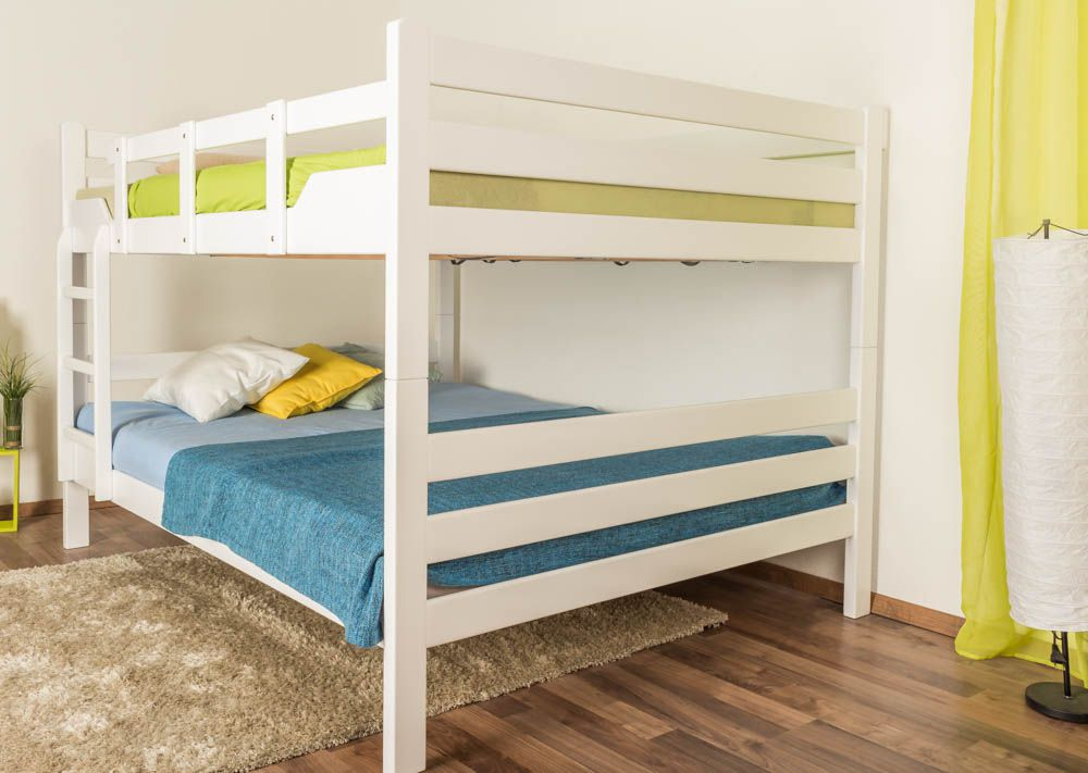 """Etagenbett für Erwachsene """"Easy Premium Line"""" K16/n, Kopf- und Fußteil gerade, Buche Vollholz massiv weiß lackiert - Liegefläche: 160 x 200 cm, teilbar"""