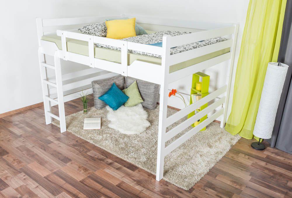 """Hochbett für Erwachsene """"Easy Premium Line"""" K15/n, Buche Vollholz massiv weiß lackiert, umbaubar - Liegefläche: 160 x 200 cm"""