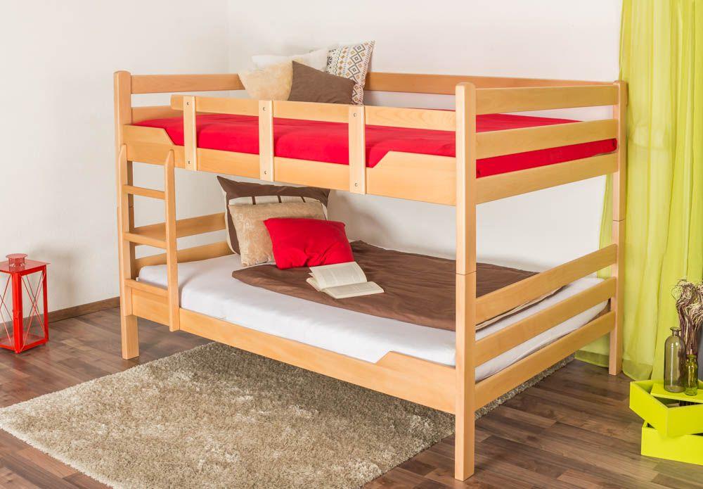 """Etagenbett für Erwachsene """"Easy Premium Line"""" K16/n, Kopf- und Fußteil gerade, Buche Vollholz massiv Natur - Liegefläche: 140 x 200 cm, teilbar"""