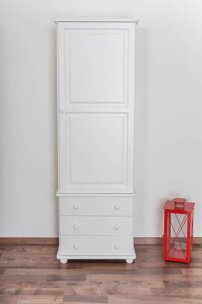 Schrank Kiefer massiv Vollholz weiß lackiert Junco 42 - Abmessung 195 x 65 x 42 cm