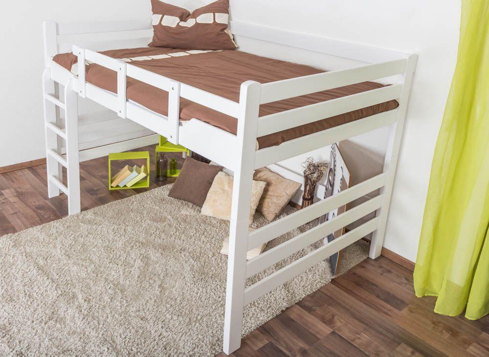 """Hochbett für Erwachsene """"Easy Premium Line"""" K15/n, Buche Vollholz massiv weiß lackiert, umbaubar - Liegefläche: 140 x 200 cm"""