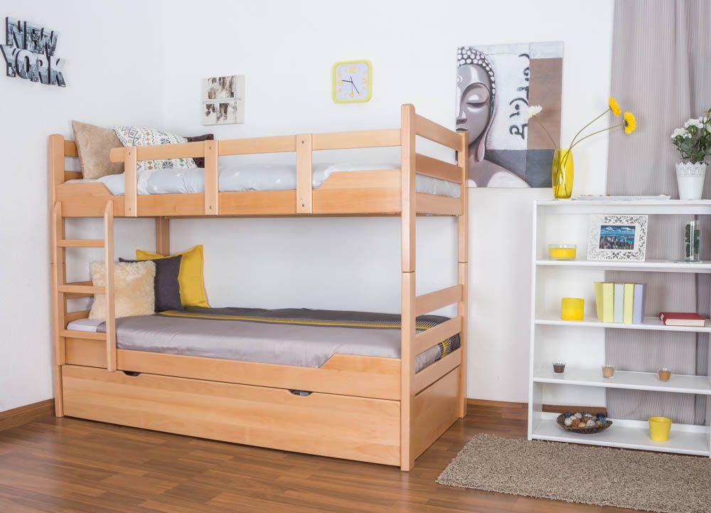 """Etagenbett für Erwachsene """"Easy Premium Line"""" K12/h inkl. Liegeplatz und 2 Abdeckblenden, Kopf- und Fußteil gerade, Buche Vollholz massiv Natur - Maße: 90 x 200 cm, teilbar"""
